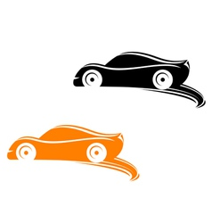 Rally racing cars in silhouette style vector image