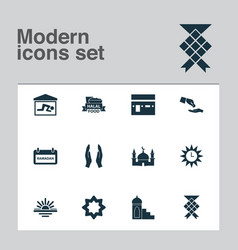 Ramadan icons set with kaaba halal financial vector