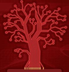 Red Digital Circuit Tree vector