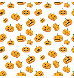 seamless white background with pumpkins vector image