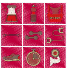 set of flat shading style icons fitness equipment vector image