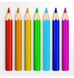 Set of Realistic Rainbow Colored Pencils Isolated vector image