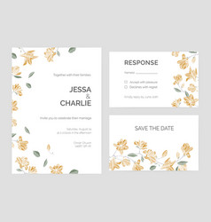 Set of save the date card or wedding invitation vector