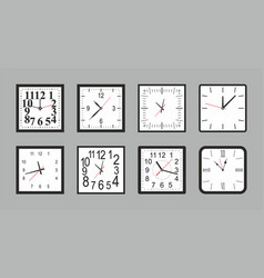 set of white square wall clock vector image