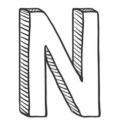 Single doodle sketch - the letter n vector