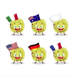 Slice amla cartoon bring flag various countries vector