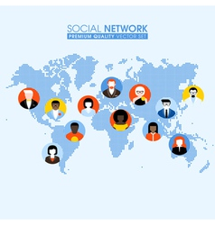 Social network flat concept with people on map vector image