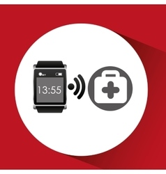 Square smart watch health first aid vector