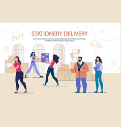 Stationary delivery and moving office service vector