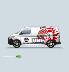 tire center delivery van template with advertise vector image