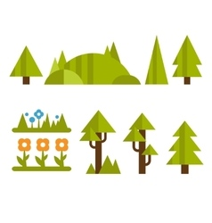 Trendy and Beautiful set of Flat Forest Elements vector
