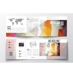 Tri-fold brochures square design templates vector
