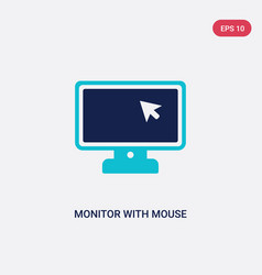 Two color monitor with mouse cursor icon from vector