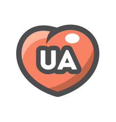 Ua with heart shape icon cartoon vector