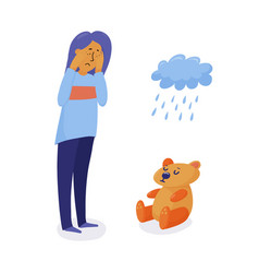 unhappy depressed woman girl standing and crying vector image