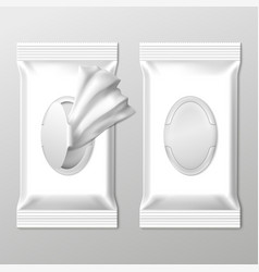 Wet wipes packing empty packaging sticks vector