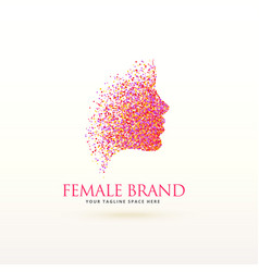Woman face logo design made with dots particle vector