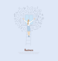 Young businesswoman standing on ladder back view vector