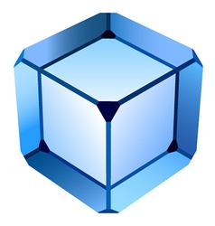blue glass cube vector image