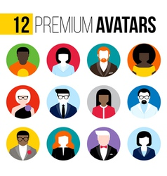 Colorful male and female user icons avatars vector image vector image