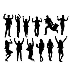 excited businessmen happy jumping silhouettes vector image vector image