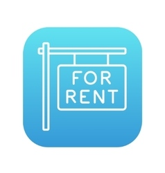 For rent placard line icon vector image vector image