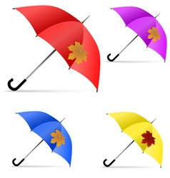 Set of umbrellas with maple leaf vector image vector image