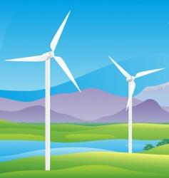 wind turbines farm landscape vector image