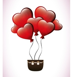 brown basket with heart balloons vector image