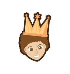 face man smile with crown vector image