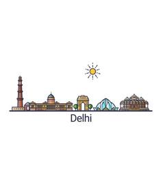 flat line delhi banner vector image vector image