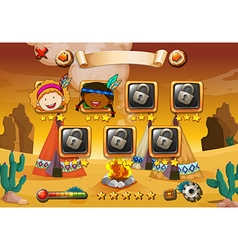 Game template with indians in background vector image