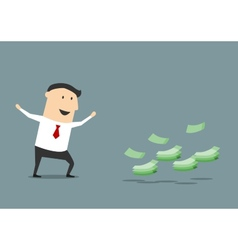 Happy cartoon businessman found money vector image vector image