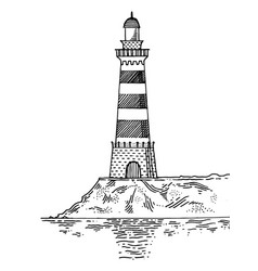 lighthouse engraving style vector image