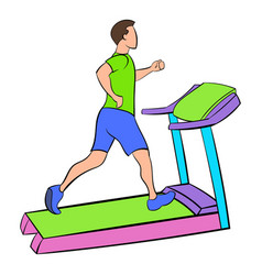 man running on a treadmil icon cartoon vector image