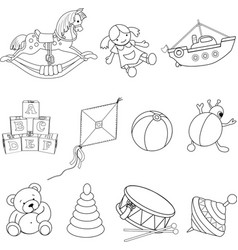 Set of toys for coloring vector image vector image