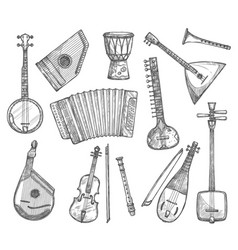 sketch icons of musical instruments vector image