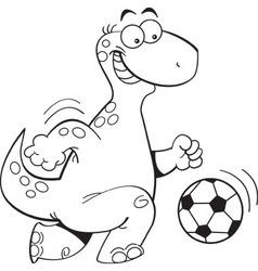 Cartoon dinosaur playing soccer vector image