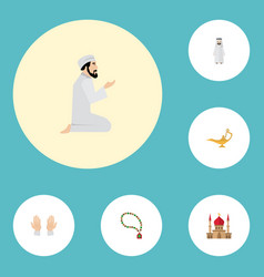 flat icons palm minaret bead and other vector image vector image
