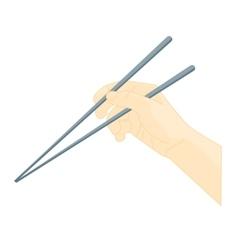 Hand Use Chopsticks Oriental Cuisine vector image