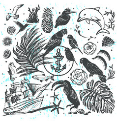 ink hand drawn elements all about vacation vector image vector image