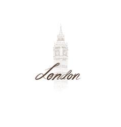 london sign handwritten lettering with big ben vector image vector image