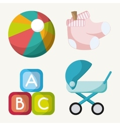 Stroller ball toy and baby sock design vector image vector image
