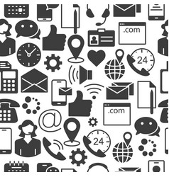 contact us customer service icons seamless pattern vector image