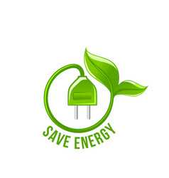 green leaf electric plug save energy icon vector image vector image