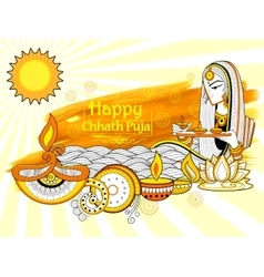 Happy Chhath Puja Holiday background for Sun vector image vector image