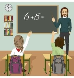 male teacher writing mathematic task vector image vector image