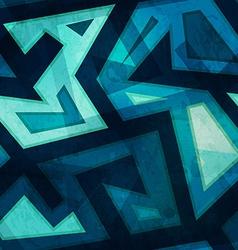 marine blue geometric seamless pattern with grunge vector image