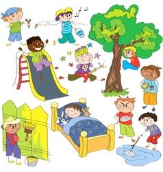 Sketches of boys vector image