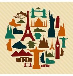 World landmark silhouettes set vector image vector image